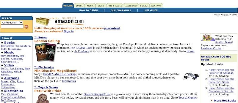 Web de Amazon en 1999
