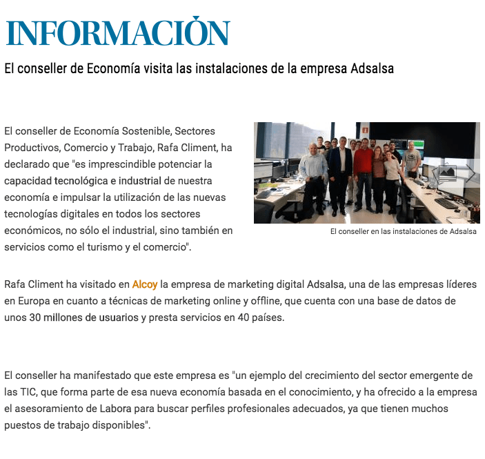 Diario Información visita del Conseller de Economía Gva