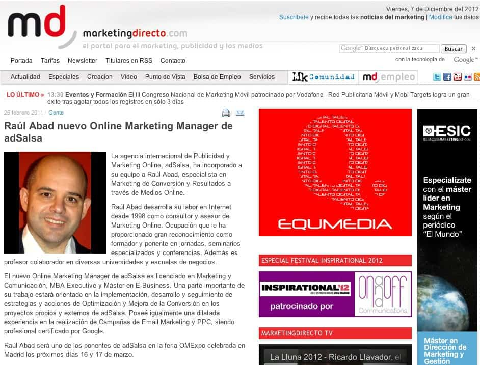 MarketingDirecto.com Digital Marketing Manager de adSalsa