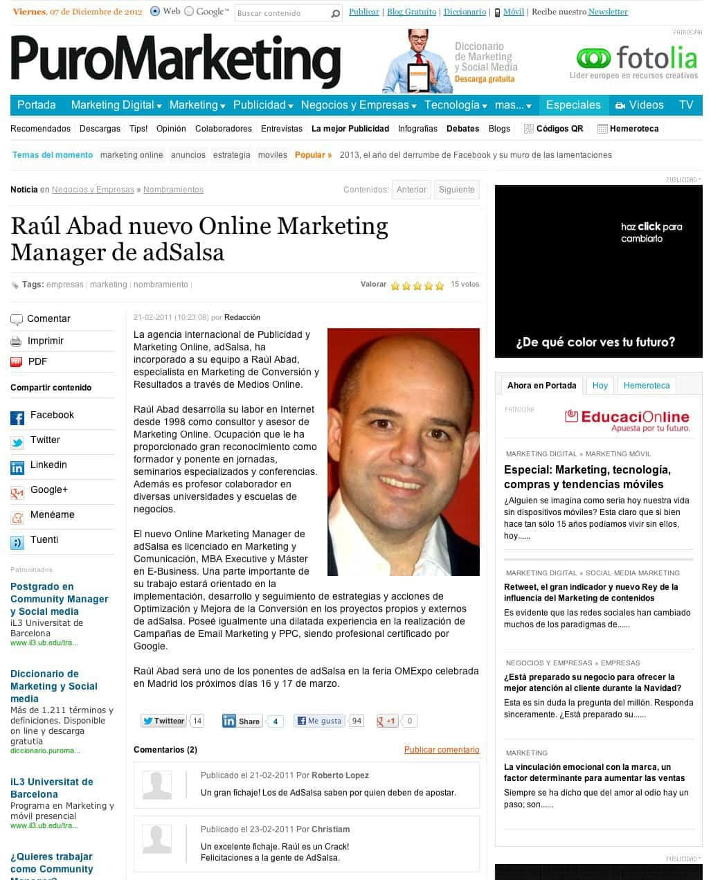 PuroMarketing.com Digital Marketing Manager de adSalsa