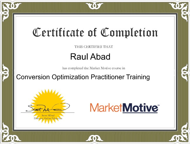 Conversion Optimization CRO Certificate by MarketMotive