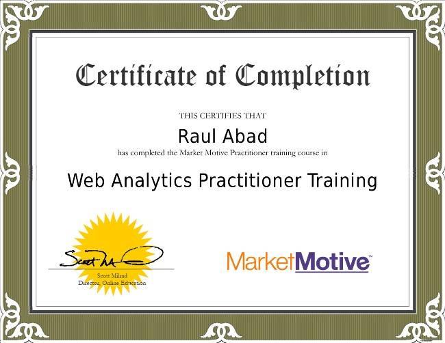 Web Analytics Certificación por MarketMotive