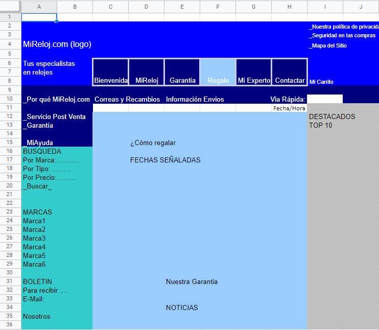 MiReloj.com Año 2000 - Boceto en Excel