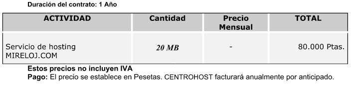 MiReloj.com Año 2000 - Factura Hosting