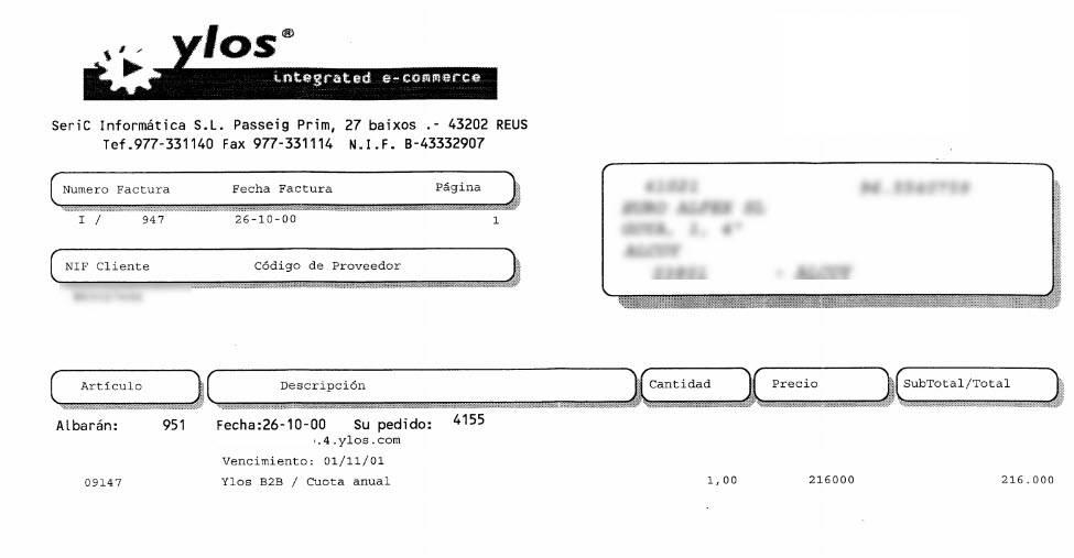 MiReloj.com Año 2000 - Factura Plataforma Ecommerce Ylos