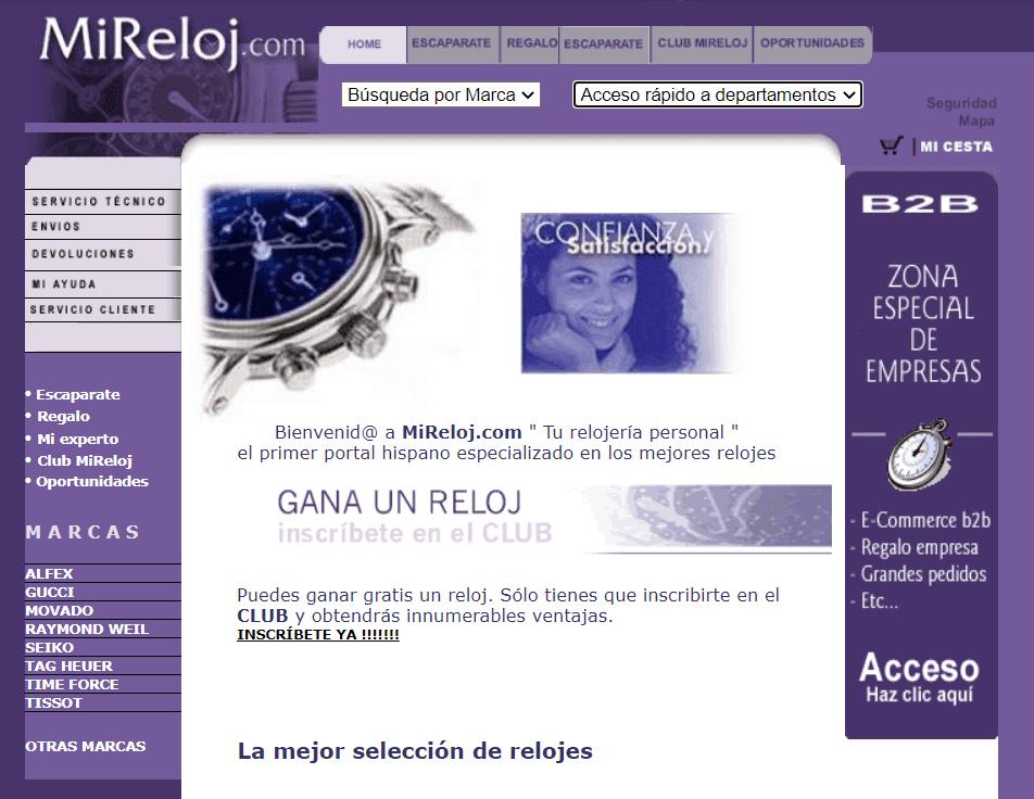 MiReloj.com Año 2000